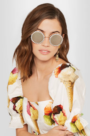 Round-frame embellished gold-tone mirrored sunglasses