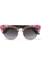 Cat-eye floral-print acetate sunglasses