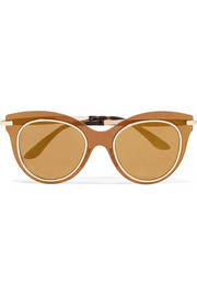 Dolce & Gabbana Cat-eye acetate and gold-tone mirrored sunglasses