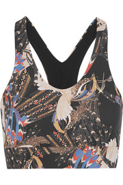 Erte printed stretch sports bra