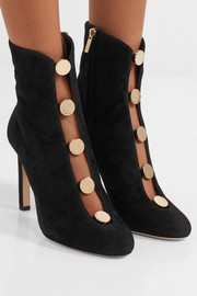 Jimmy Choo Loretta 100 button-detailed suede ankle boots
