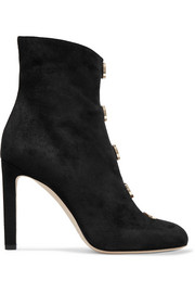 Jimmy Choo Loretta button-detailed suede ankle boots