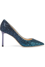 Jimmy Choo Romy glittered leather pumps