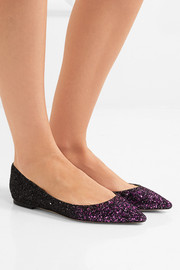 Jimmy Choo Romy dégradé glittered leather point-toe flats