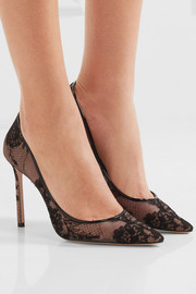 Jimmy Choo Romy leather-trimmed lace pumps
