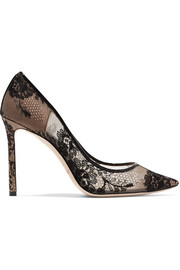 Jimmy Choo Romy 100 leather-trimmed lace pumps