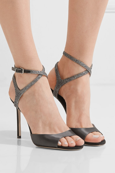2ce7d840398e Jimmy Choo. Helen 100 glitter-trimmed satin and suede sandals