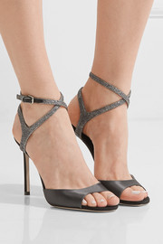 Jimmy Choo Helen glitter-trimmed satin and suede sandals