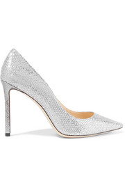 Romy glittered snake-effect leather pumps