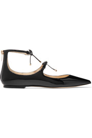 Sage patent-leather point-toe flats