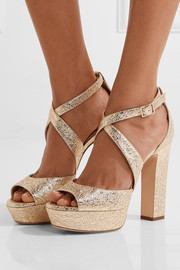 Jimmy Choo April metallic crinkled-leather platform sandals