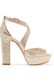 Jimmy Choo April 120 metallic crinkled-leather platform sandals