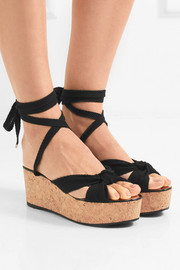 Jimmy Choo Norah knotted canvas wedge sandals