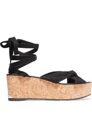 Jimmy Choo Norah 70 knotted canvas wedge sandals