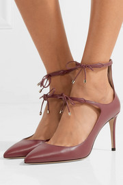 Jimmy Choo Sage 85 bow-embellished leather pumps
