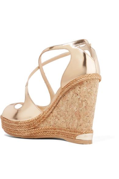 da021af2c61 Jimmy Choo. Dakota metallic leather wedge sandals.  275. Zoom In