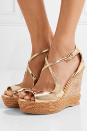 Jimmy Choo Dakota metallic leather wedge sandals