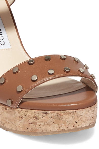 6edad1d2ed9c Jimmy Choo. Nelly 100 studded leather wedge sandals.  347.50. Zoom In