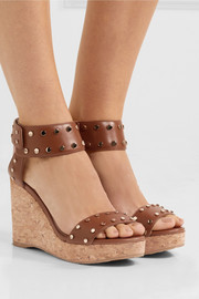 Jimmy Choo Nelly studded leather wedge sandals