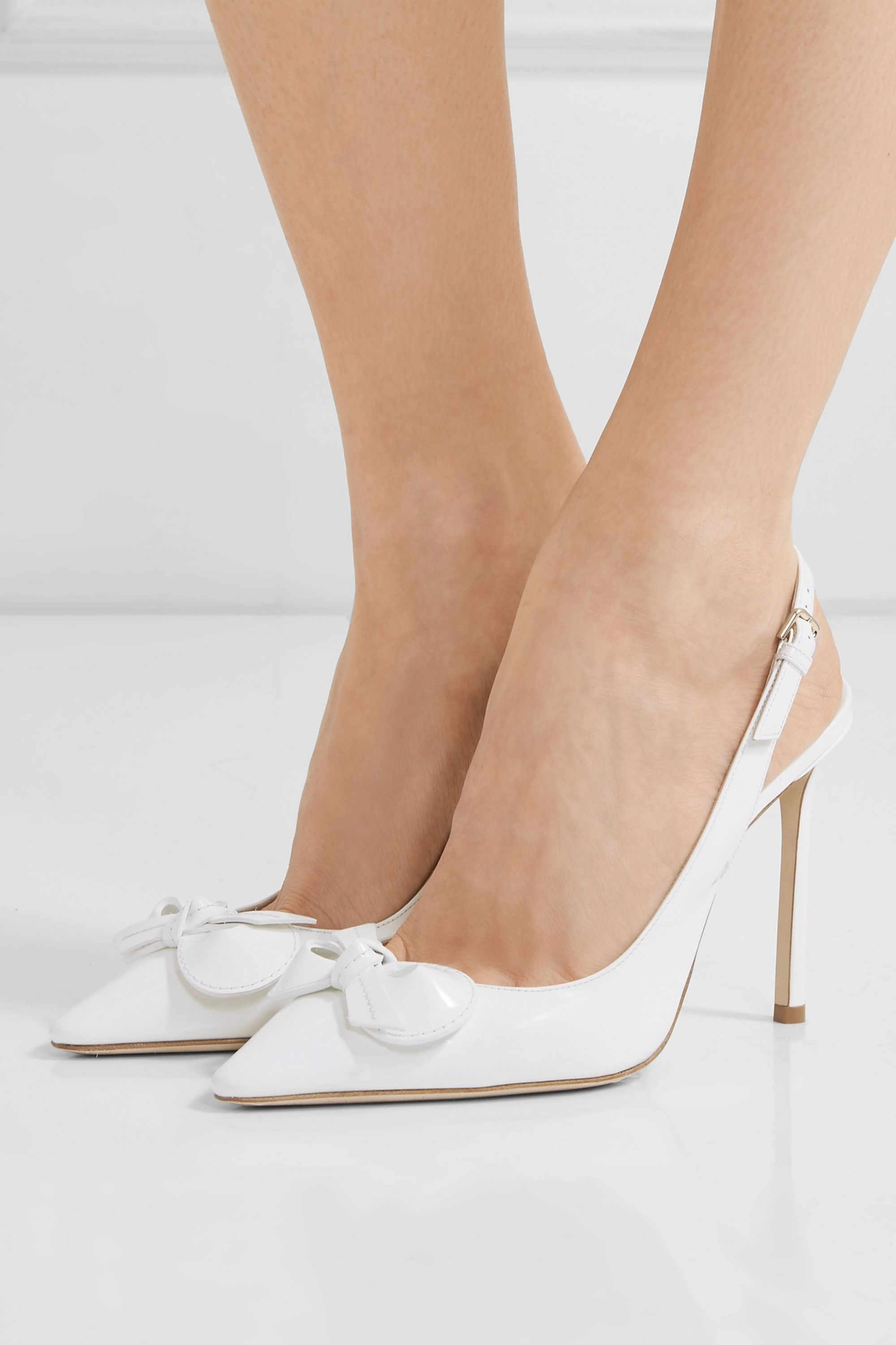 Jimmy Choo Blare 100 bow-embellished patent-leather slingback pumps