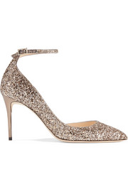 Jimmy Choo Lucy 85 glittered leather pumps