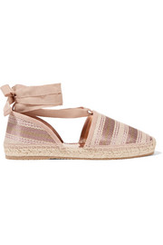 Jimmy Choo Dolphin striped metallic canvas espadrilles