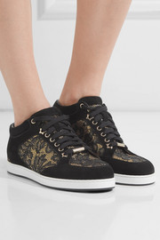 Jimmy Choo Miami lace-paneled suede sneakers