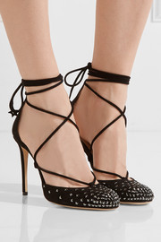 Jimmy Choo Kamron 100 lace-up embellished suede pumps