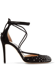 Jimmy Choo Kamron lace-up embellished suede pumps