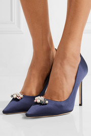 Jimmy Choo Embellished satin pumps