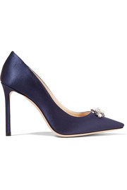 Jimmy Choo Alexa 100 embellished satin pumps