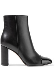 Patent and matte-leather ankle boots