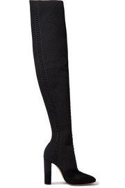 Perforated stretch-knit over-the-knee boots