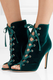 Gianvito Rossi Lace-up velvet boots