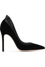 Gianvito Rossi Tuxedo satin-trimmed velvet pumps