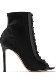 Gianvito Rossi 100 leather-trimmed stretch-faille boots
