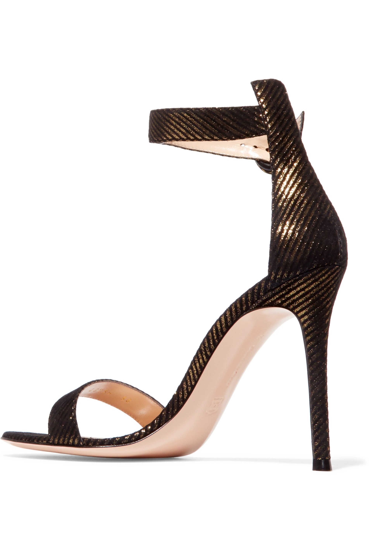 Gianvito Rossi Portofino 100 metallic pinstriped jacquard sandals