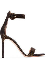 Gianvito Rossi Portofino metallic pinstriped jacquard sandals