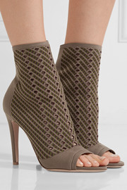 Perforated stretch-knit ankle boots