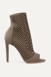Gianvito Rossi Perforated stretch-knit ankle boots