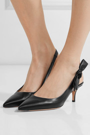 Gianvito Rossi Bow-embellished leather slingback pumps