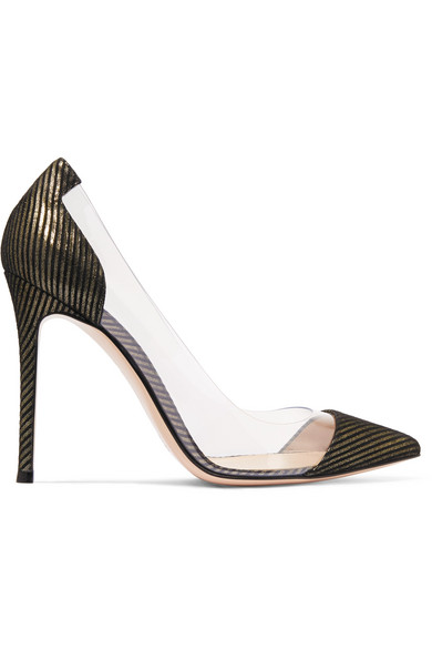 Gianvito Rossi. Plexi 100 metallic-striped suede ...