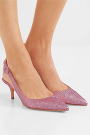 Gianvito Rossi Textured-lamé slingback pumps