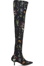 Elliot floral-print matelassé over-the-knee boots