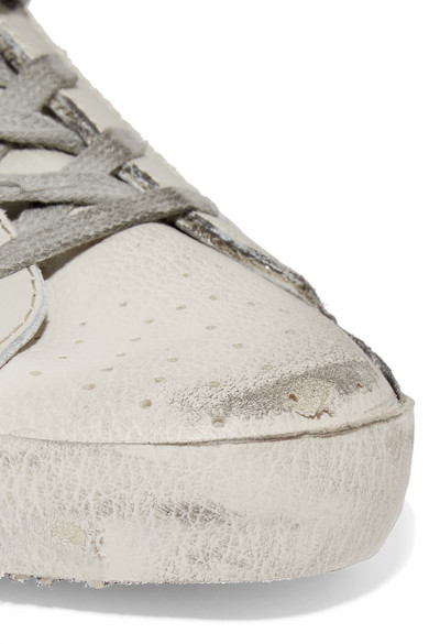 Golden Goose Deluxe Brand Superstar Sneakers aus Mesh mit Glitter-Finish und Leder in Distressed-Optik