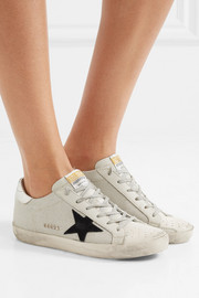 Golden Goose Deluxe Brand Super Star distressed leather-paneled glittered mesh sneakers