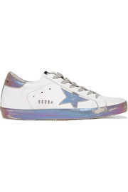 Super Star iridescent-paneled distressed leather sneakers