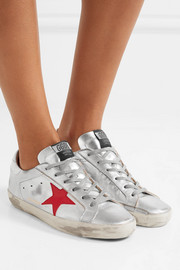 Super Star distressed metallic leather sneakers