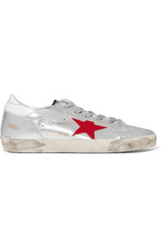Golden Goose Deluxe Brand Super Star distressed metallic leather sneakers