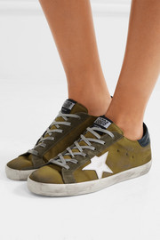 Golden Goose Deluxe Brand Super Star distressed suede and leather-trimmed satin sneakers